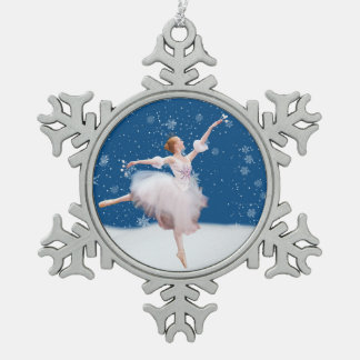 Snow Queen Ballerina Customizable Snowflake Pewter Christmas Ornament