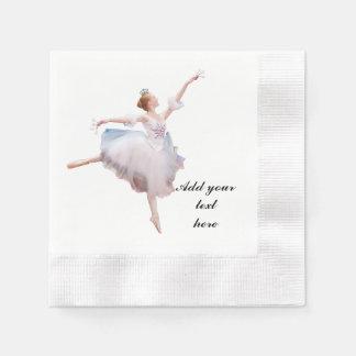 Snow Queen Ballerina Customizable Text Coined Cocktail Napkin