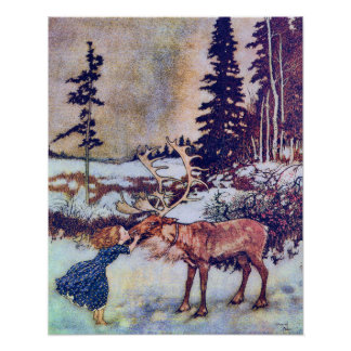 Snow Queen Vintage Fairy Tale Illustration Poster