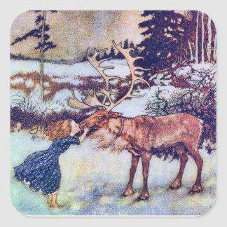 Snow Queen Vintage Fairy Tale Illustration Square Sticker