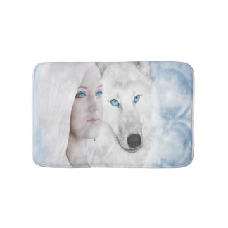 Snow Queen White Wolf Blue Eyes Bathroom Mat