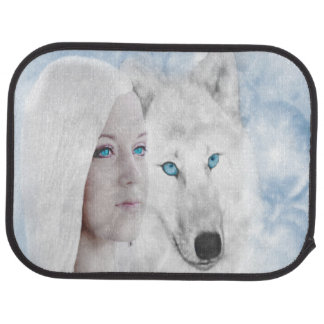 Snow Queen White Wolf Blue Eyes Car Floor Mat