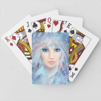 Snow queen. Winter beautiful woman. Playing Cards