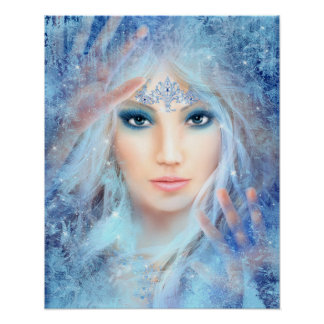 Snow queen. Winter beautiful woman. Portrait. Poster