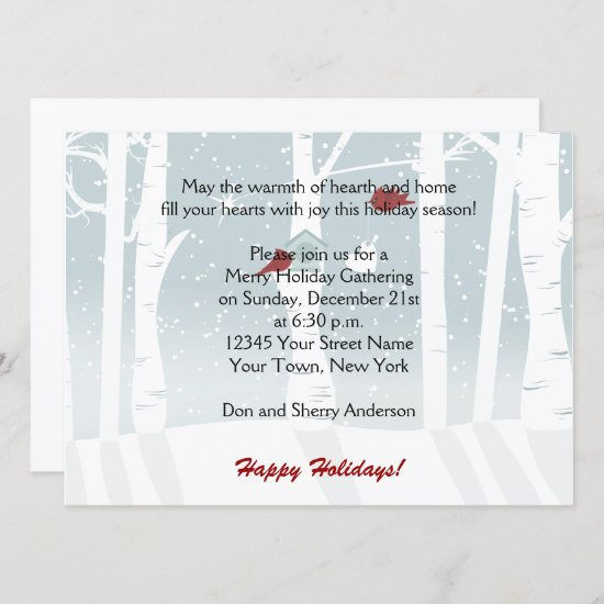 Snow Red Birds Holiday Party Invitations