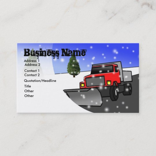 Snow Removal Business Card Zazzle