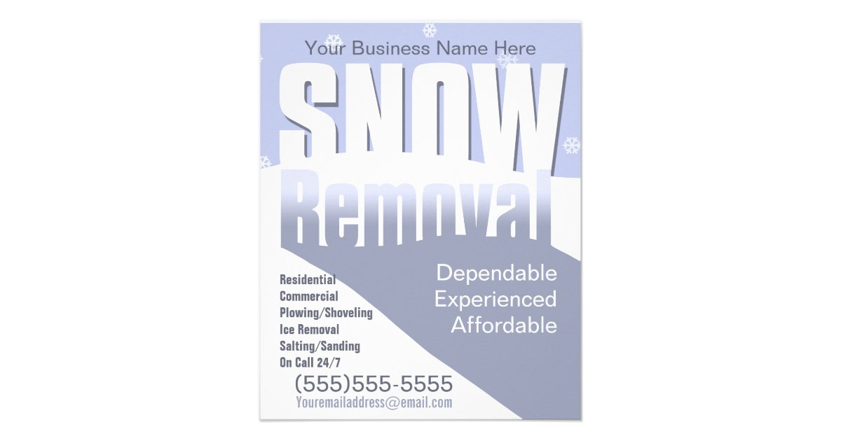 Snow Removal Plowing Customizable Template Flyer | Zazzle.com
