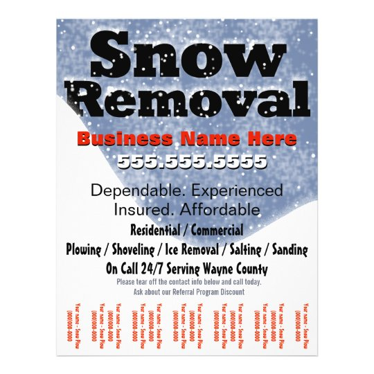 snow removal plowing tear sheet template