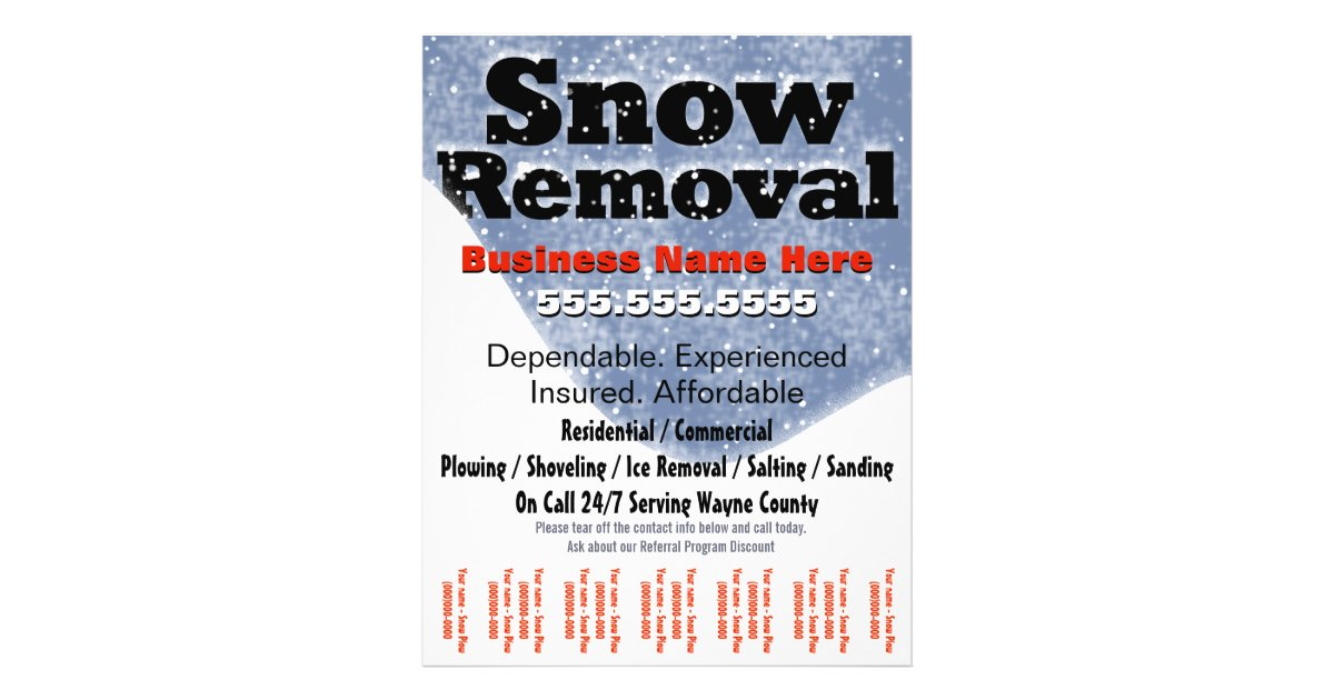 Snow Removal Plowing Tear Sheet Template | Zazzle.com
