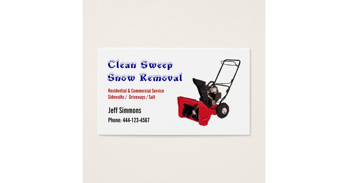 Snow Removal Snow Blower Business Card | Zazzle.com