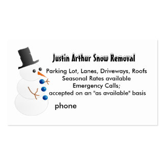 Snow Removal Template with Snowman Pack Of Standard Business Cards