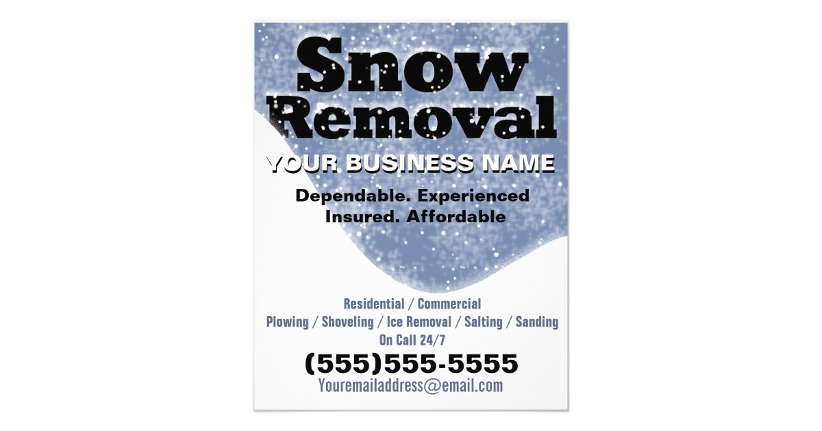 Snow Removal Winter Plowing Template Flyer | Zazzle.com