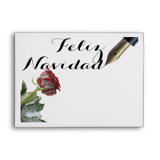 Snow rose Feliz Navidad Letter Envelope