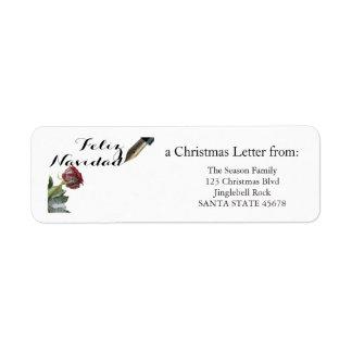 Snow rose Feliz Navidad Letter Label
