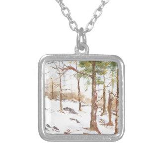 Snow scean square pendant necklace