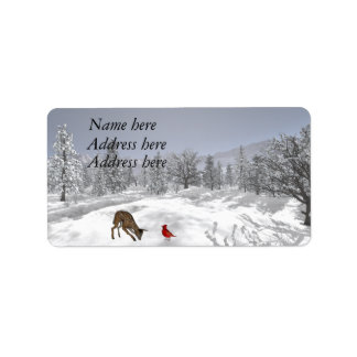 Snow scene address labels