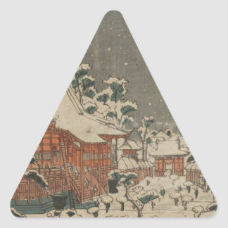 Snow Scene at Sensô-ji Temple at Kinryûzan Triangle Sticker