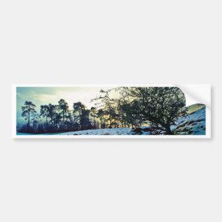 Snow scene bumper sticker