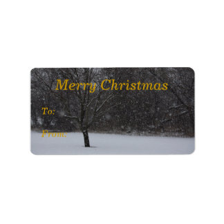 Snow Scene Christmas gift tags