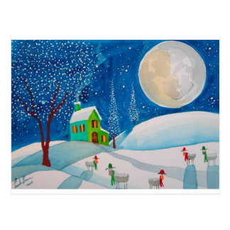SNOW SCENE FOLK SHEEP MOON POSTCARD