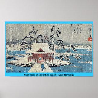 Snow scene in Inokashira pond by Andō,Hiroshige Poster