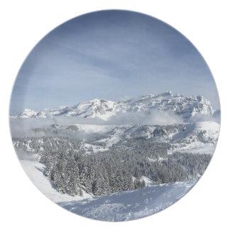 Snow scene melamine plate