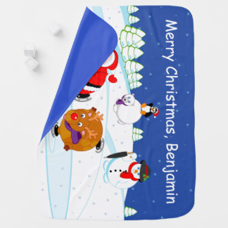 Snow scene of Santa Claus and Rudolph ice skating, Receiving Blanket
