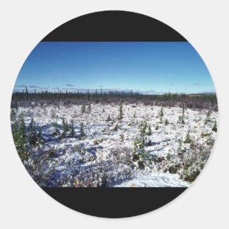 Snow Scene of Tetlin National Wildlife Refuge Classic Round Sticker