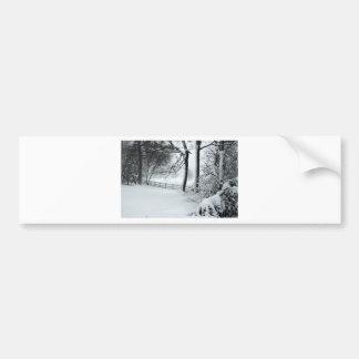 snow scene sketch bumper sticker