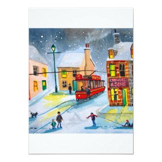 SNOW SCENE TRAM STREET SCENE Gordon Bruce 5x7 Paper Invitation Card