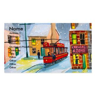 SNOW SCENE TRAM STREET SCENE Gordon Bruce Business Card