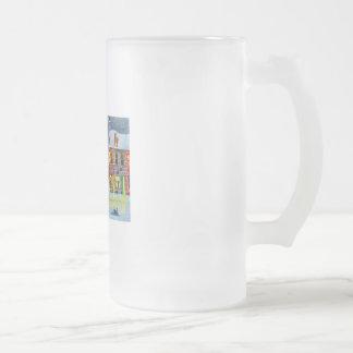 SNOW SCENE TRAM STREET SCENE Gordon Bruce Frosted Glass Beer Mug