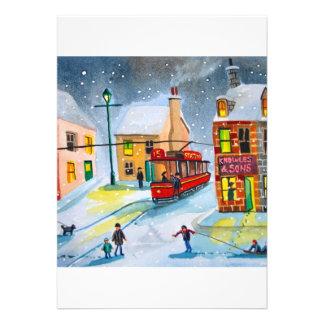 SNOW SCENE TRAM STREET SCENE Gordon Bruce Custom Invites