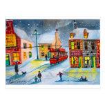 SNOW SCENE TRAM STREET SCENE Gordon Bruce Post Card