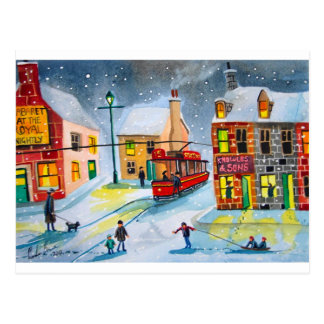 SNOW SCENE TRAM STREET SCENE Gordon Bruce Postcard