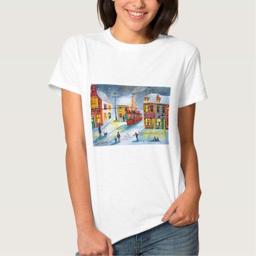 SNOW SCENE TRAM STREET SCENE Gordon Bruce T-shirts