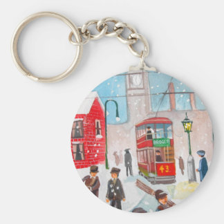 Snow scene winter chimney sweeps painting G Bruce Basic Round Button Keychain