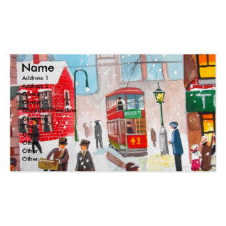 Snow scene winter chimney sweeps painting G Bruce Business Card