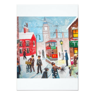 Snow scene winter chimney sweeps painting G Bruce Card