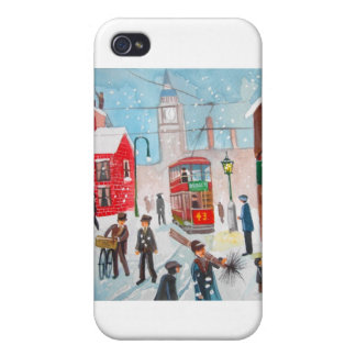 Snow scene winter chimney sweeps painting G Bruce iPhone 4 Cover