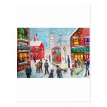 Snow scene winter chimney sweeps painting G Bruce Post Card