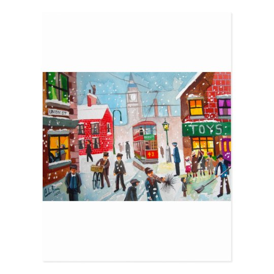 Snow scene winter chimney sweeps painting G Bruce Postcard