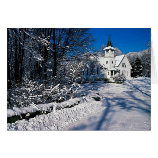 Snow Scene Winter Rural Church Blank Greeting Card