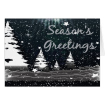 snow scene Winter Wonderland Holiday greetings Card