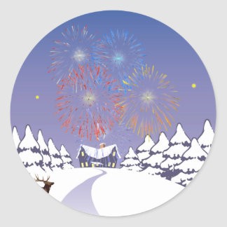 Snow Scene With Fireworks And Deer. Classic Round Sticker