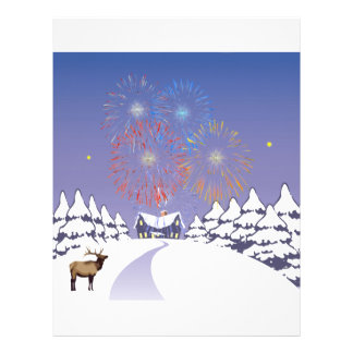 Snow Scene With Fireworks And Deer Letterhead Design