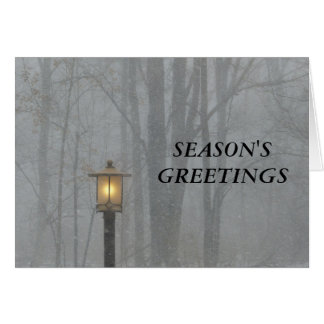 Snow Scene with Glowing Old Street Lamp Note Card