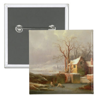 Snow Scene with Mill and Cottages 2 Inch Square Button