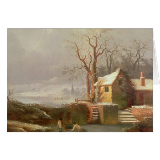 Snow Scene with Mill and Cottages Card