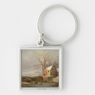 Snow Scene with Mill and Cottages Keychain